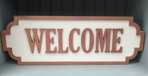 Wooden Street Sign - Welcome Copper