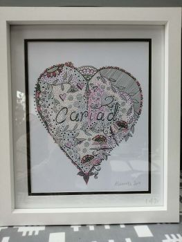 "Hand Drawn Welsh  Language 12"" x 10"" Framed Print - Cariad Pink"