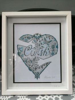 "Hand Drawn Welsh  Language 12"" x 10"" Framed Print - Cwtsh Blue"