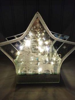 Glass Mirror Glitter LED Star Ornament - Large