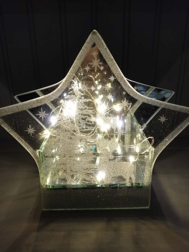 LED Glittered Glass Mirror Star - Large