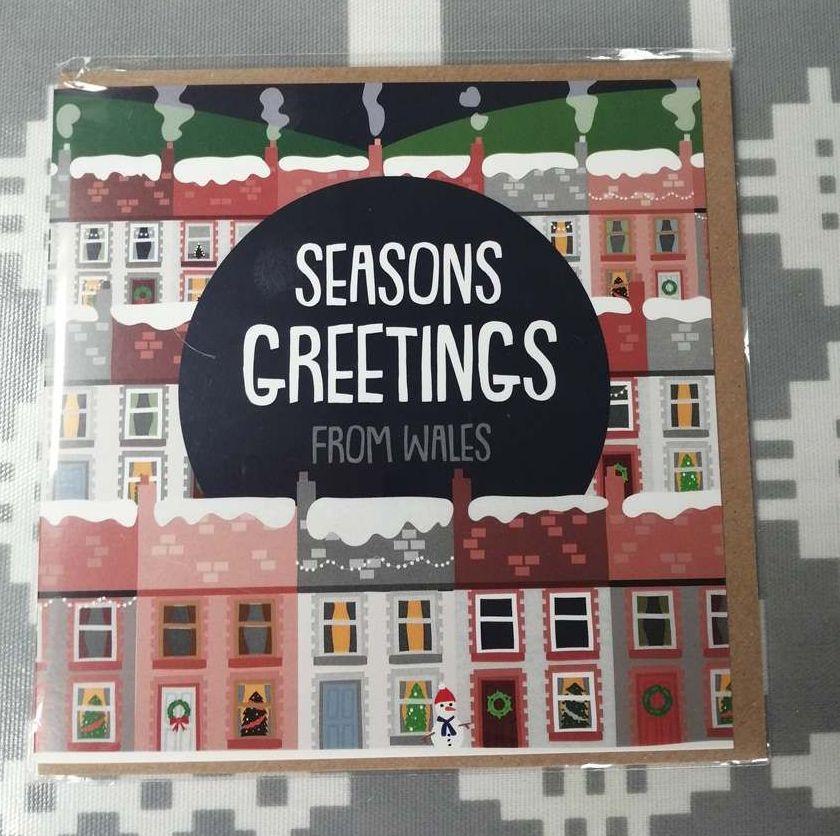 Merry Christmas Seasons Greetings Card - Welsh Valleys