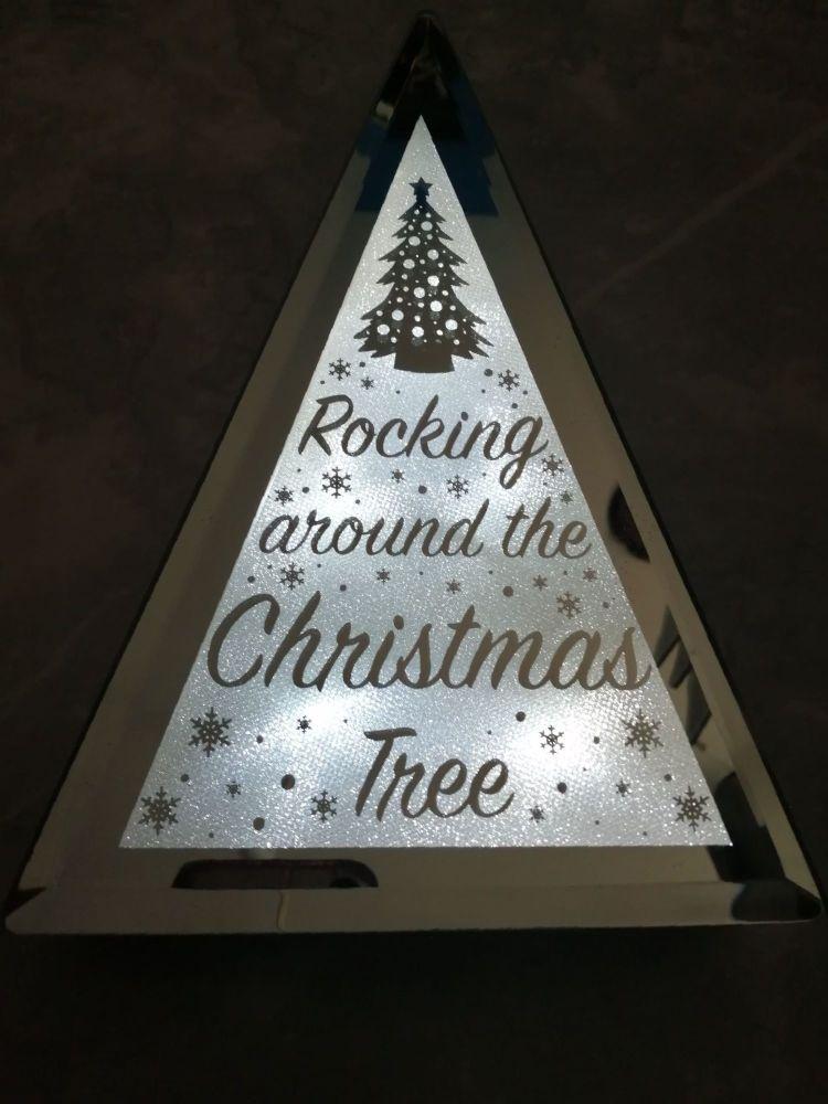 Mirror Glitter Edge LED Display - Christmas Tree