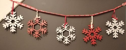 Snowflake Bunting - Red and White