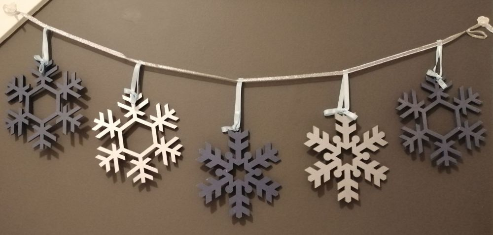 Snowflake Bunting - Blue and Silver