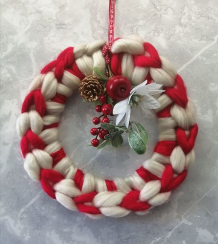 Candy Cane Wreath with Posy