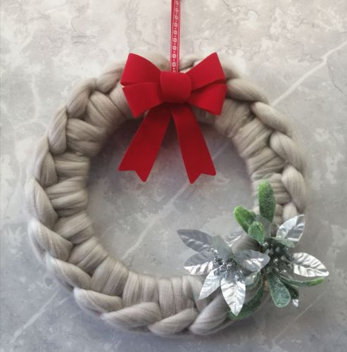 Pearl Wreath with Bow and Poinsettias