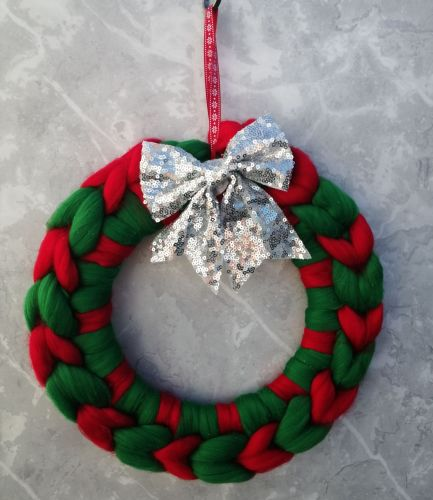 Green and Red Wreath with Silver Bow