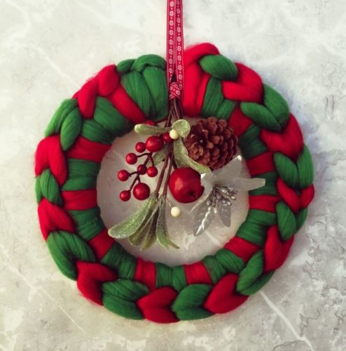 Green and Red Wreath with Posy - Medium