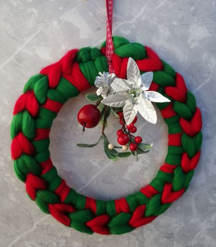 Green and Red Wreath with Posy - Large