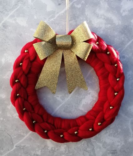 Red Wreath with Gold Bow and Beads - Medium