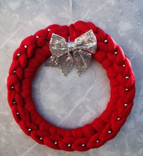 Red Wreath with Silver Bow and Beads - Large