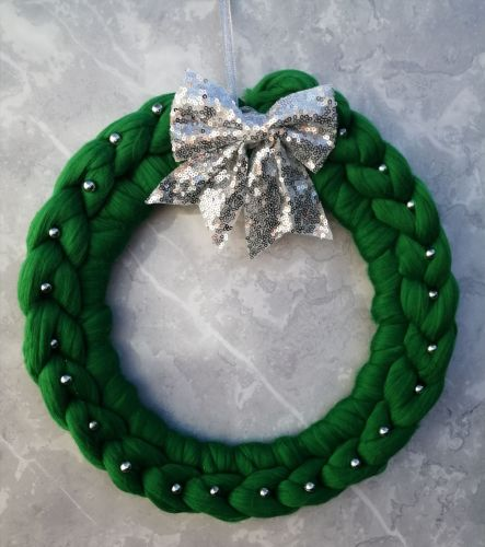 Green Wreath with Silver Bow and Beads - Large
