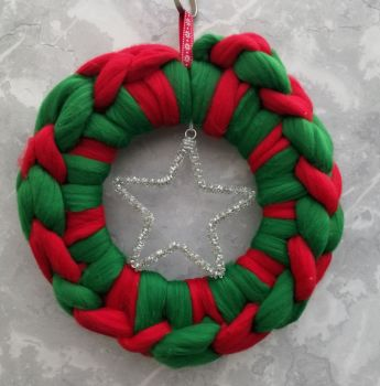 Green and Red Wreath with Beaded Star - Small