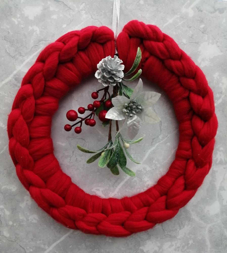 Red Wreath with Posy - Large