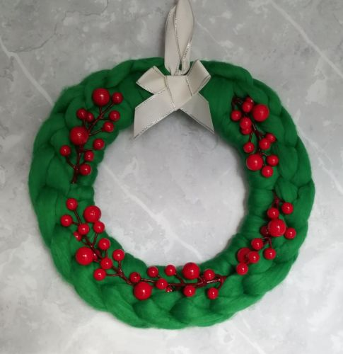 Green Wreath with Red Berries - Medium