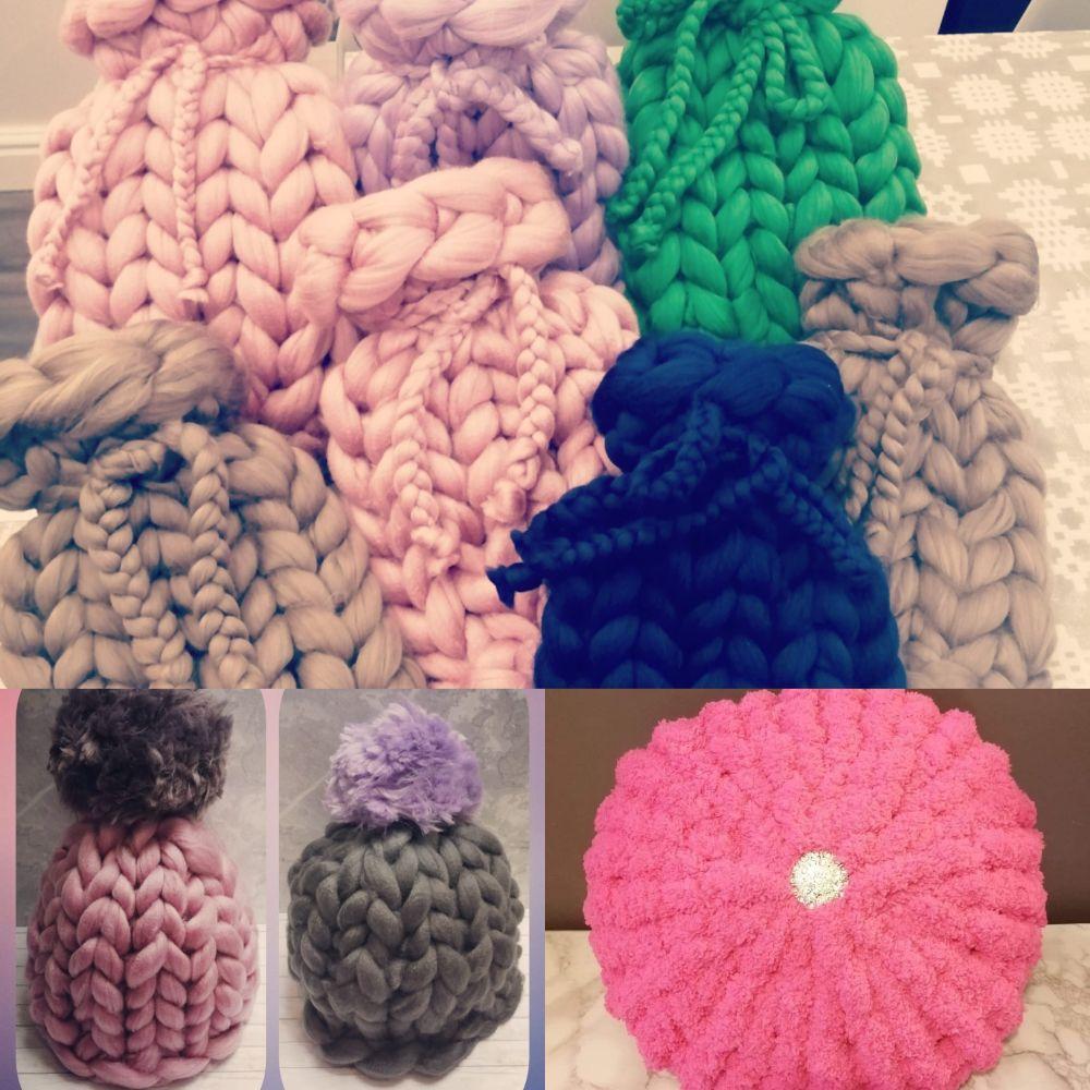 Chunky Wool Hats, Cushions & Hot Water Bottles