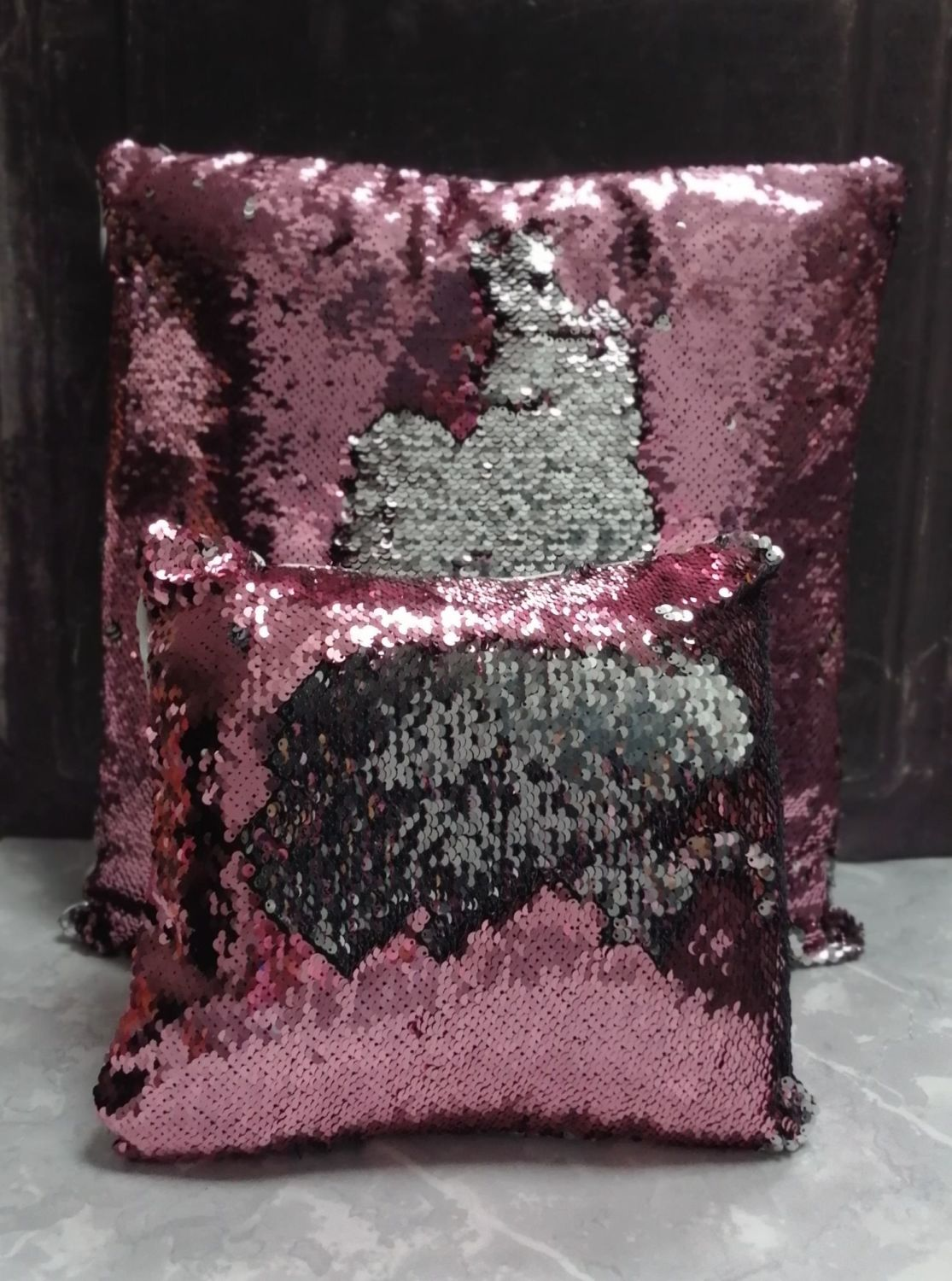 Sequin Cushions - Set of 2 Pink and Silver