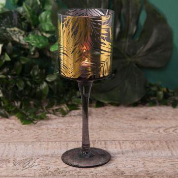Gold Palm Leaf Tealight Holder