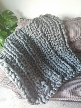 Chunky Wool Blanket - Slate Green Double Rib Stitch