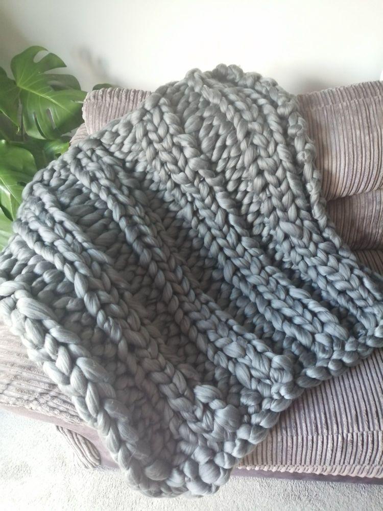 Chunky Wool Blanket - Slate Green Double Rib Stitch