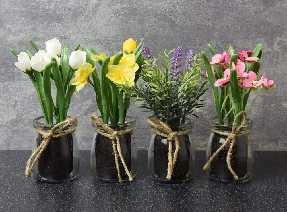 Artificial Flowers in Glass Pots - Set of 3