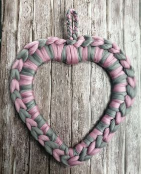 Large Heart Wreath - Pink and Grey