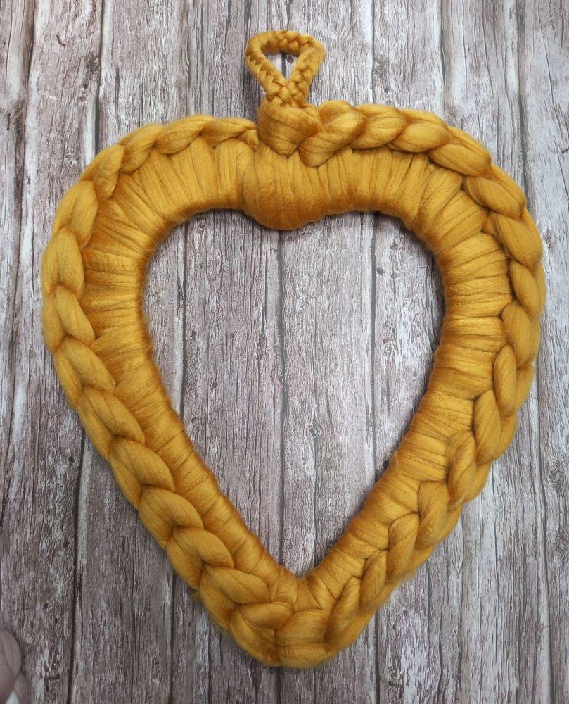 Chunky Wool Wreath - Mustard Yellow