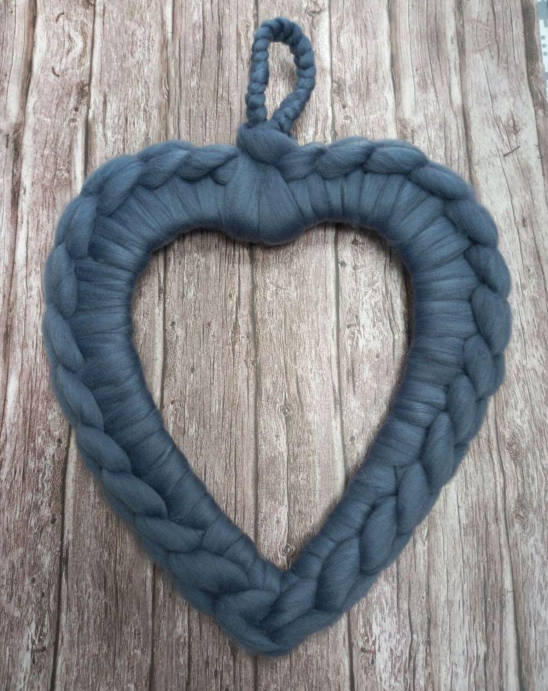 Chunky Wool Wreath - Denim Blue