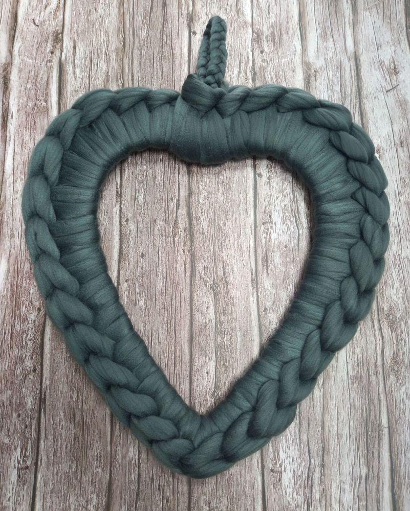 Chunky Wool Wreath - Slate Green