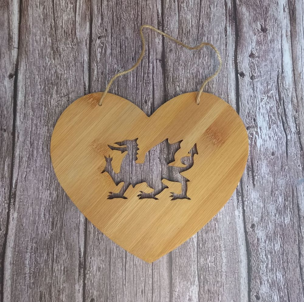 Hand Carved Wood Heart with Cut Out Welsh Dragon
