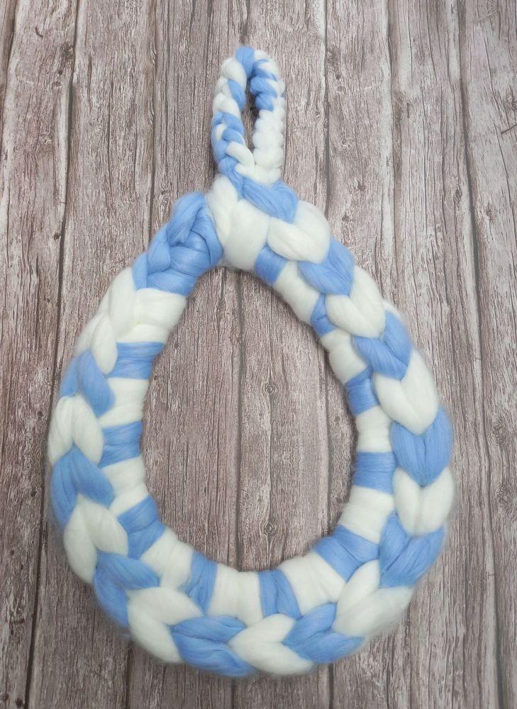 Chunky Wool Teardrop - Sky Blue and White