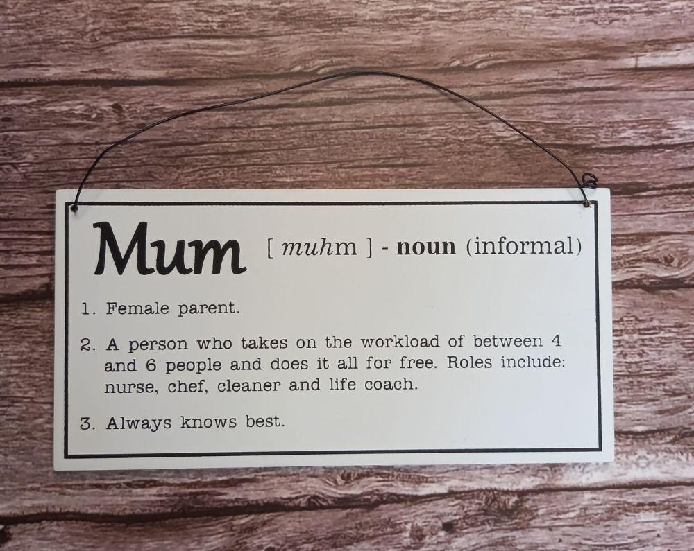 Mum Definition Plaque