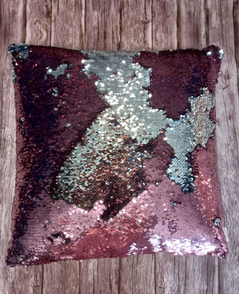 Sequin Cushion - Pink and Silver Large