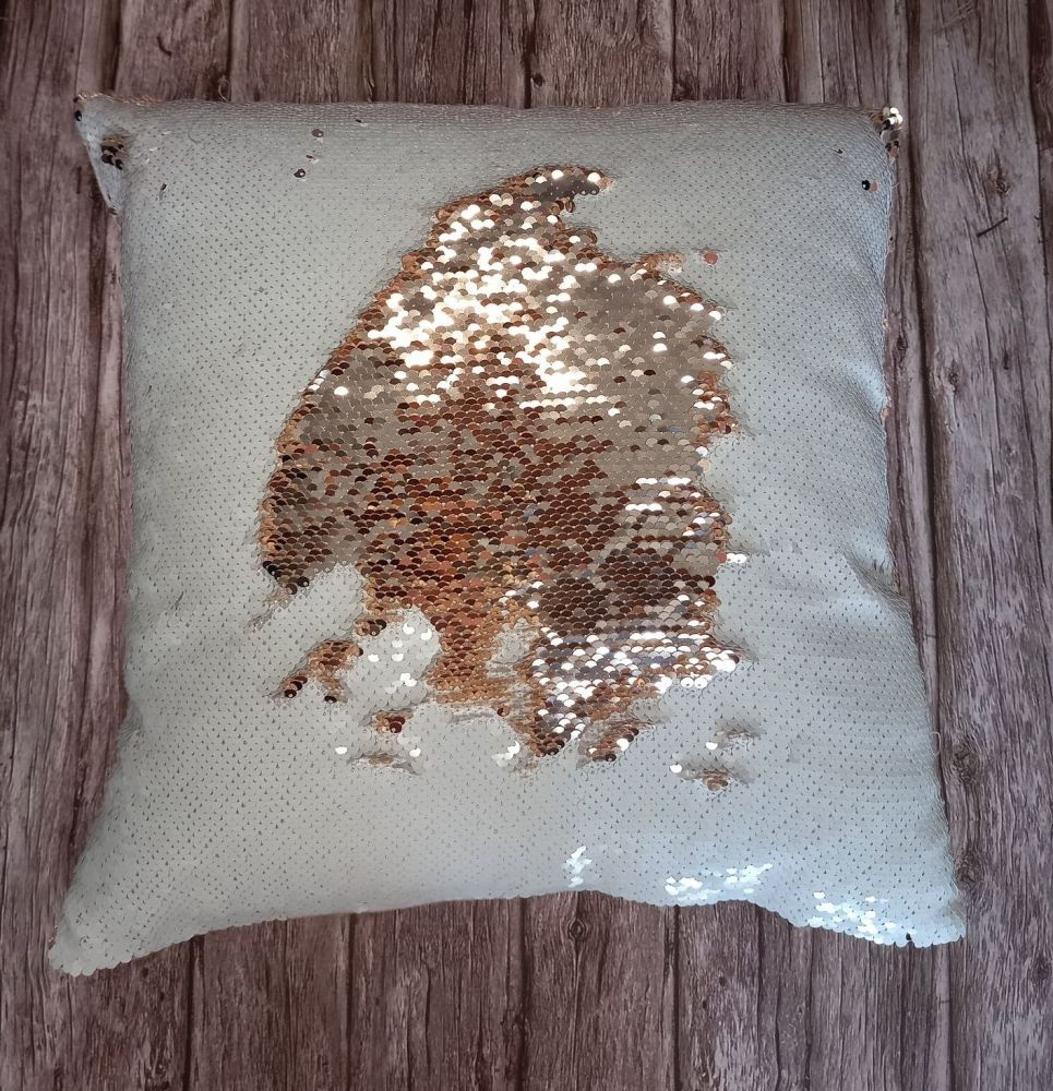 Sequin Cushion - Rose Gold and White