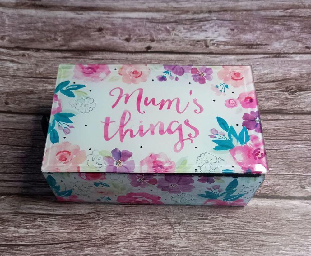 Floral Mum's Things Glass Trinket Box