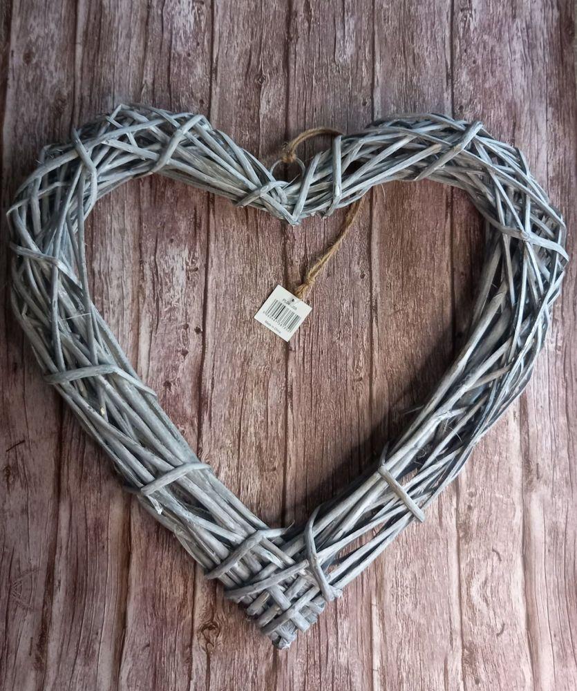 Grey Wicker Heart 50 cms