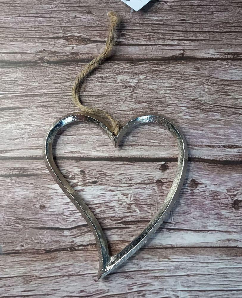 Silver Wavy Metal Heart