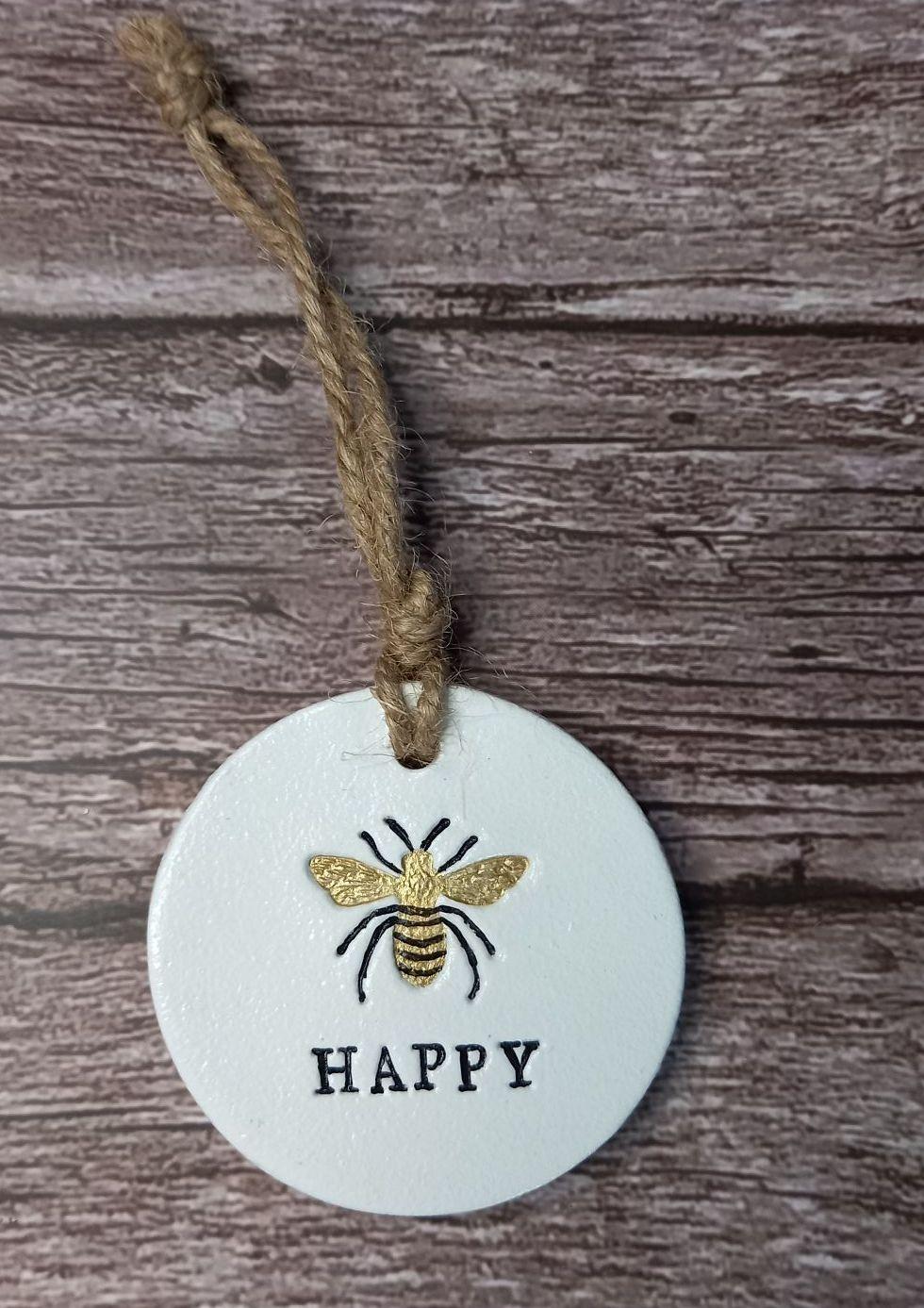 Clay Round - Bee Happy