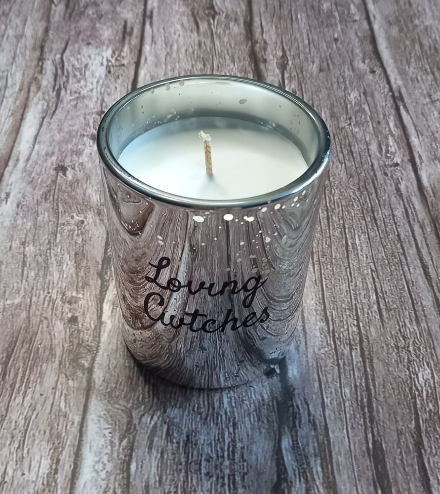 Handmade Candle - Silver Speckled Glass