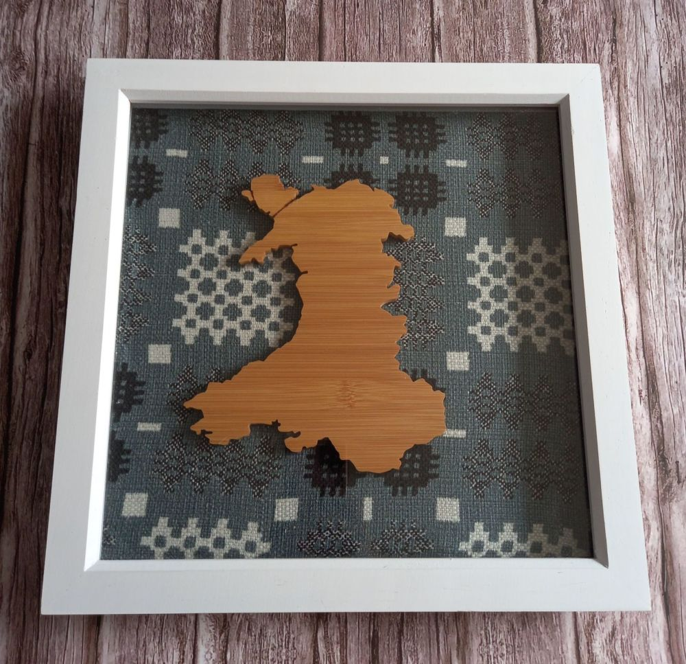 Framed Large Wood Wales Map 3D Box - Grey