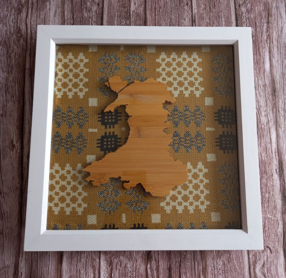 Framed Large Wood Wales Map 3D Box - Mustard