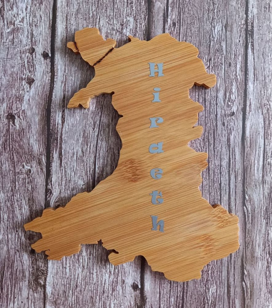 Hand Carved Wood Wales Map