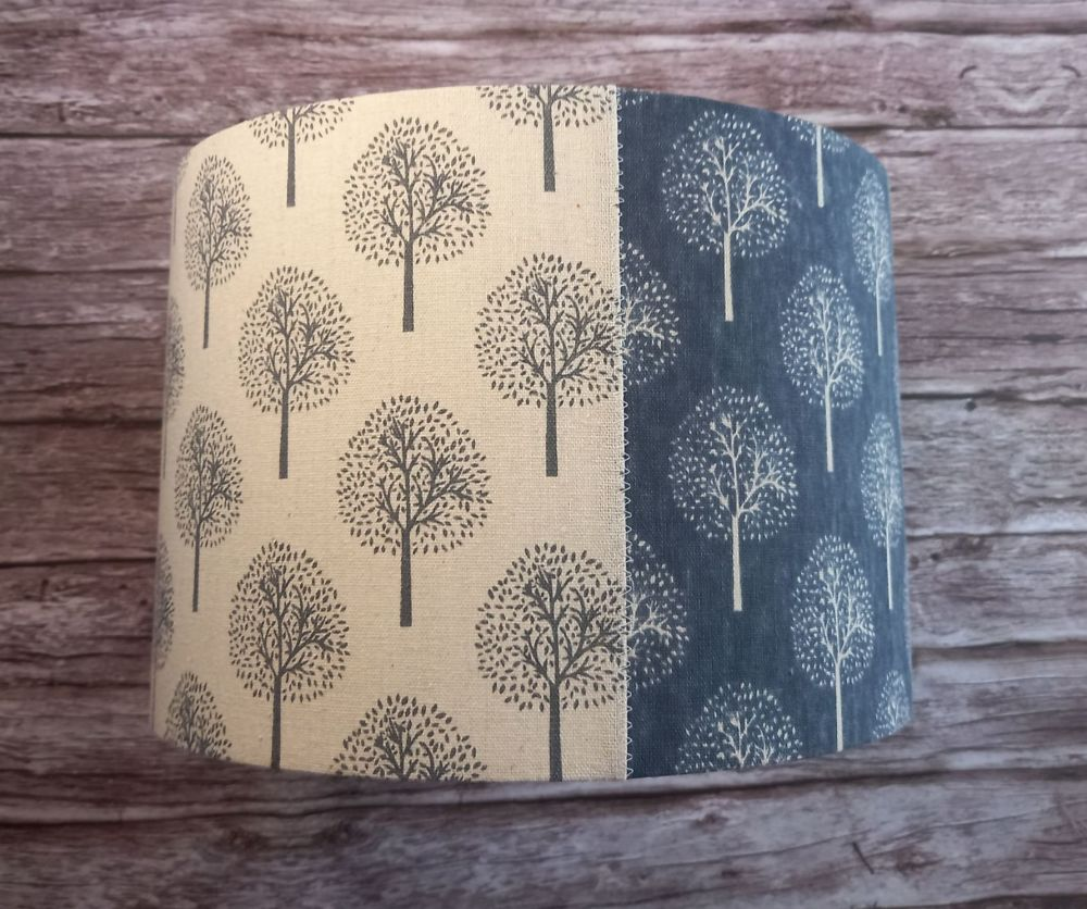 Lampshade - Tree Pattern Blue and Cream