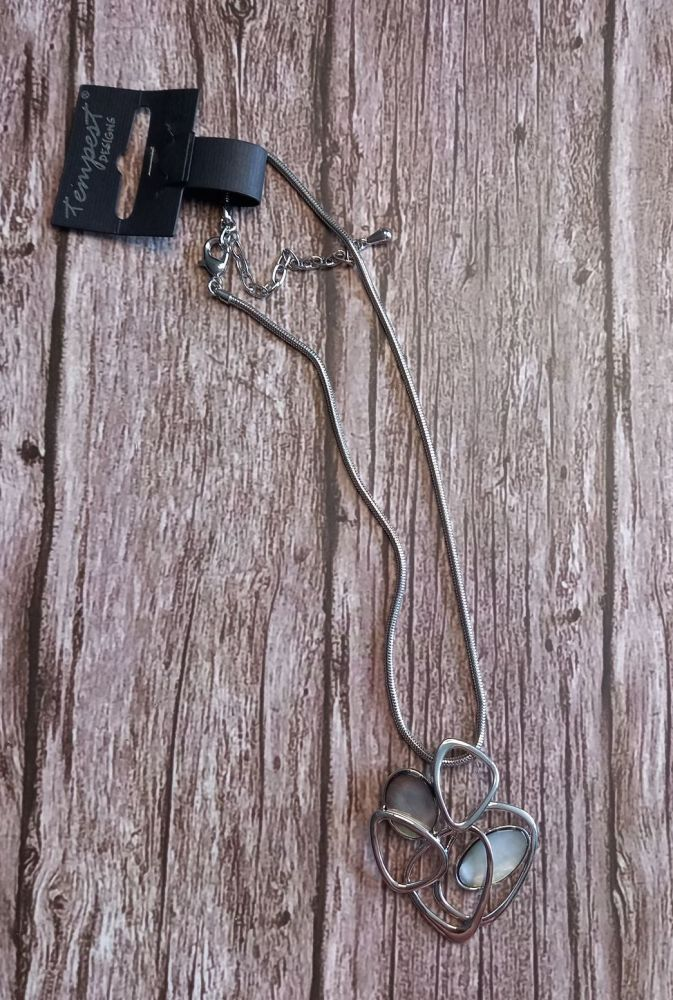 Rhodium & Opal Pendant Necklace