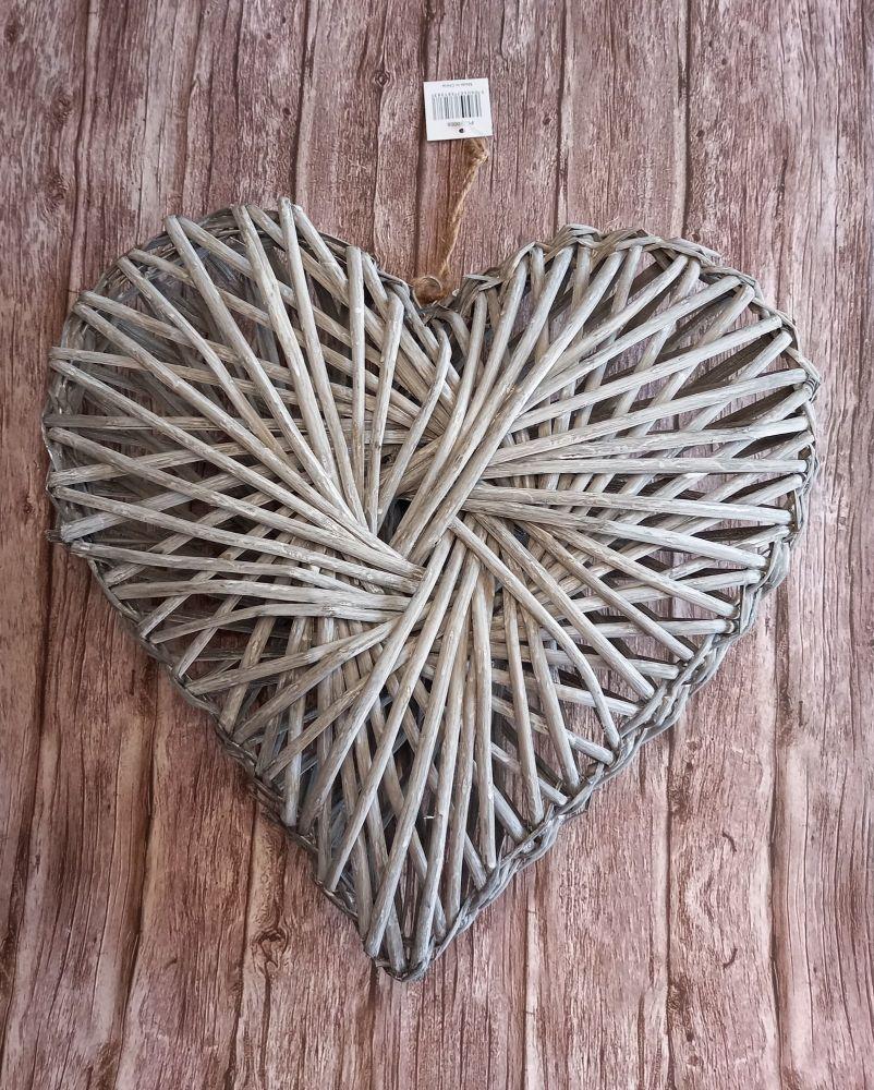 Grey Wicker Rattan Heart Wreath