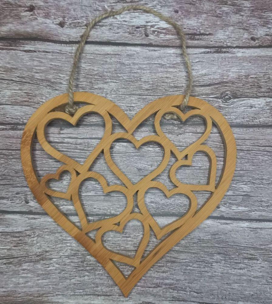 Handmade Wood Hearts in a Heart