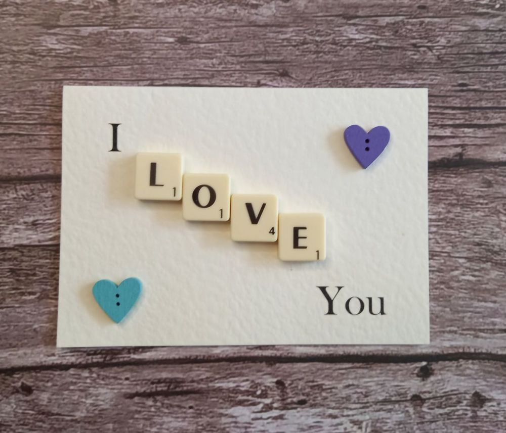 Handmade I Love You Scrabble Card