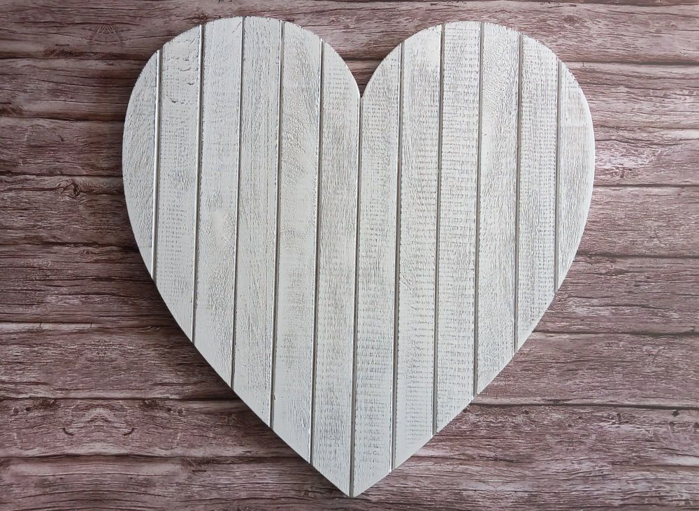 Large White T&G Style Wall Heart