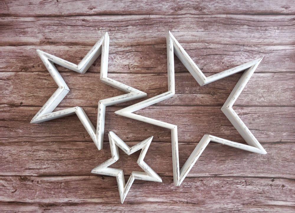 Freestanding White Wood Stars